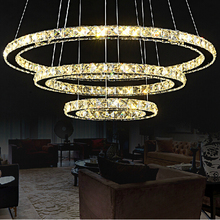 Crystal Circle pendant lamp for dining room Modern crystal pendant light luminaire dining room hanging lamp Diamond Ring light