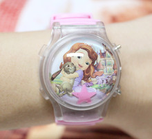 Hot Sale 1PC Nice Sophia Girl's Ball Shape LED Watches With Flashing Light Children Cartoon Character Kids Digital Wristwatches