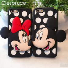 Clespruce Soft Silicon Cute Cartoon 3D Minnie Mickey Case For Iphone 8 5 5S SE 6 6S 6Plus 6S 7Plus Mobile Phone Bags Cover(China)