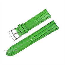 Green Blue Purple Pink Alligator Crocodile Grain Genuine Leather Watch Band Strap Silver Stainless Steel Pin Buckle 18mm 20mm