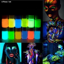 4 X Glowing paint glow in the dark Face body Paint 25g for party, Easter 12 Colors luminous Acrylic Paints(China)
