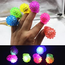 5pcs/lot Luminous Soft Ring LED Finger Ring Dazzle Flashing Glowing Ring Soft Silicone Strawberry Lights Toy(China)