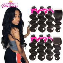Hair Closure Human-Hair-Bundles Body-Wave Beautiful Princess Peruvian with Lace Double-Weft