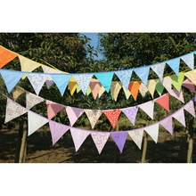 Pennant Flags Cotton Bunting Banner Garland Wedding Birthday Baby Shower Party Events Decorative Craftwork Camping Favor 2.4m