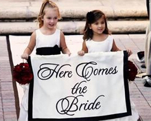 Here comes the Bride Banner -Personalized Letter Information, Wedding signany COLOR, - flower girl and ring bearer