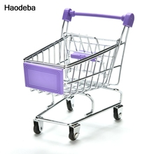 Haodeba New Mini Supermarket Hand Trolleys Mini Shopping Cart Desktop Decoration Storage Phone Holder Baby Toy