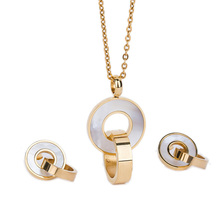 Fashion Jewelry Sets Gold Color Stainless Steel Shell Pendant Necklace Earrings Accessory For Women Wedding Party