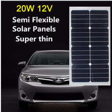 High Efficiency 20W 12V Solar Panel Energy Semi Flexible Monocrystalline Sunpower for RV Car Boat PV Poly solar Module
