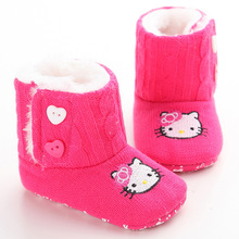 Infant Toddler Hello Kitty Baby Girls Winter Keep Warm Soft Soled Boots Newborn Kids Crib Babe Knitting Booties Shoes Footwear(China)
