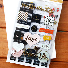 Foil Gold Moments 3D Die Cut Self-adhesive Stickers for Scrapbooking/Card Making/Journaling Project DIY(China)