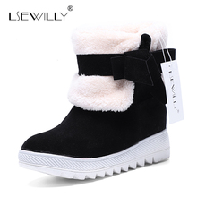 Lsewilly New Arrival Hot Sale Women Boots Solid Bowtie Slip-On Soft Cute Women Snow Boots Round Toe Flat with Winter Shoes AA264