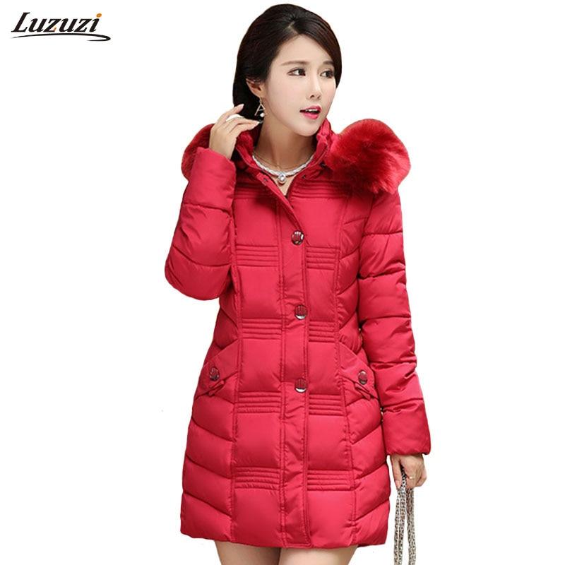 1PC Winter Jacket Women Fur Hood Parka Cotton Padded Coat Jaqueta Feminina Inverno Chaquetas Mujer Z551Îäåæäà è àêñåññóàðû<br><br>