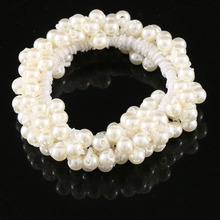 1 PCS New Fashion Womens Pearls Beads Hair Band Rope Scrunchie Ponytail Holder Elastic Hair Band Accessories(China)