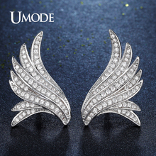 UMDOE Brand Design Charm Angel Wings Fashion Feather Crystal Stud Earrings for Women Wedding Party Jewelry Brincos Femme UE0280(China)