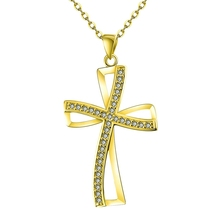 High quality Gold Color Jesus Christ cross pendant necklace with zircon fashion jewelry factory price Christmas gift