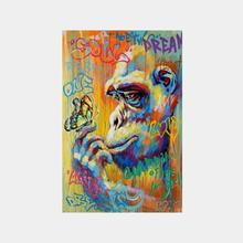 Graffiti Street Art Monkey Gorrila Canvas 50% Oil Painting  Home Wall Art  Decor Picture For Bedroom Or Living room