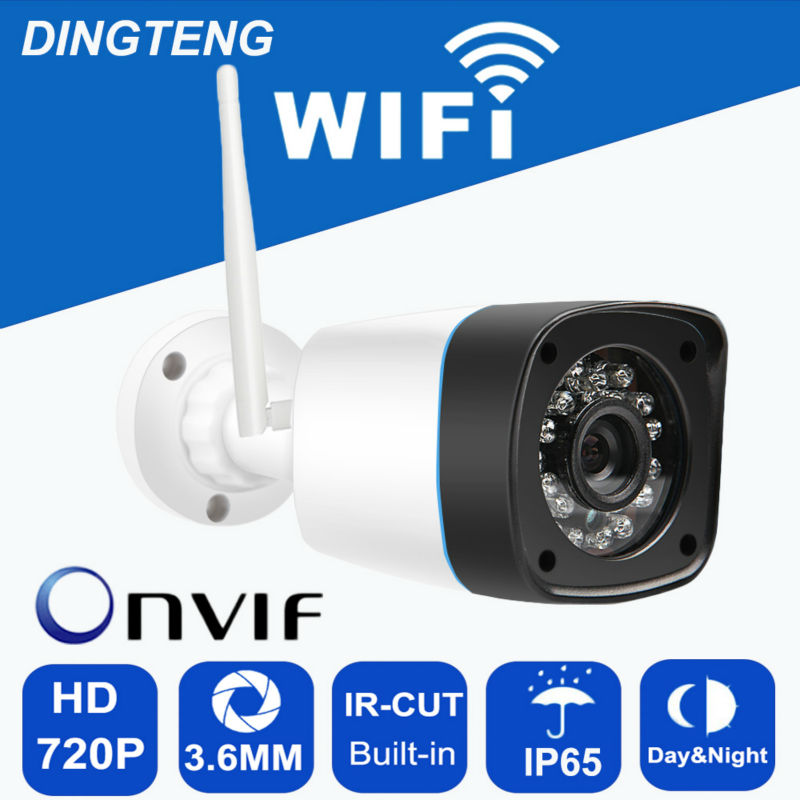 720P 1MP HD security ip camera wifi day and night view outdoor waterproof motion detection TF card slot video record and replay<br>