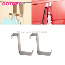 1Pair Over Door Hook Stainless Cabinet Kitchen Clothes Hanger Organizer Holder -Y121 Best Quality