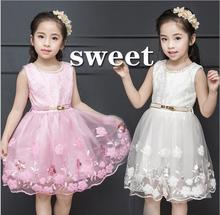 Little Girl Wedding Dress 2017 New Girl Embroidery Flowe Dresses Elegant Cute Kids Party Dresses Fashion Princess Belle Costume
