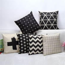 45x45cm White and Black Designer Cushion Cover Geometric Pillow Case Home Decorative Printed Throw Cushions Covers Home Decor
