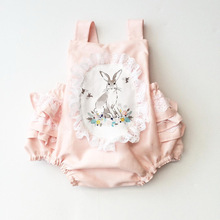 INS Fine Children's Clothing Cotton Pink Vest Cartoon Bunny Print Lace Belt Bowknot Cute Famale Baby Kids Clothing Summer