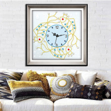 Home Beauty Big Size Wall Clock With Diamond Wall Clocks For Home Decoration Digital Clock Diamond Embroidery Cross Stitch RK017(China)
