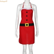 Saingace Christmas Decoration Santa Apron Home Kitchen Cooking Baking Chef Red Apron Cleaning Tool Aprons U61025 DROP SHIP(China)