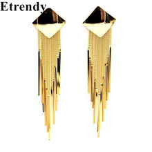 Statement Metal Tassel Long Earrings For Women Gold-color 2017 New Party Jewelry Bijoux Street Style(China)