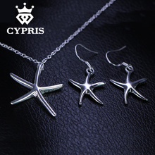 2018 SUPER DEAL Best Selling Starfish Jewellery sets New Arrivals silver sets Necklace earrings 18inch big CYPRIS free shipping(China)