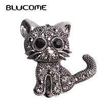 Blucome Cute Little Cat Brooches Pin Up Jewelry For Women Suit Hats Clips Corsages Brand Bijoux Brooch Bijouterie Free Shipping(China)