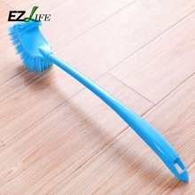 V-type Portable Toilet Brush Scrubber Curved Cleaner Clean Brush Handle Corner HD0213