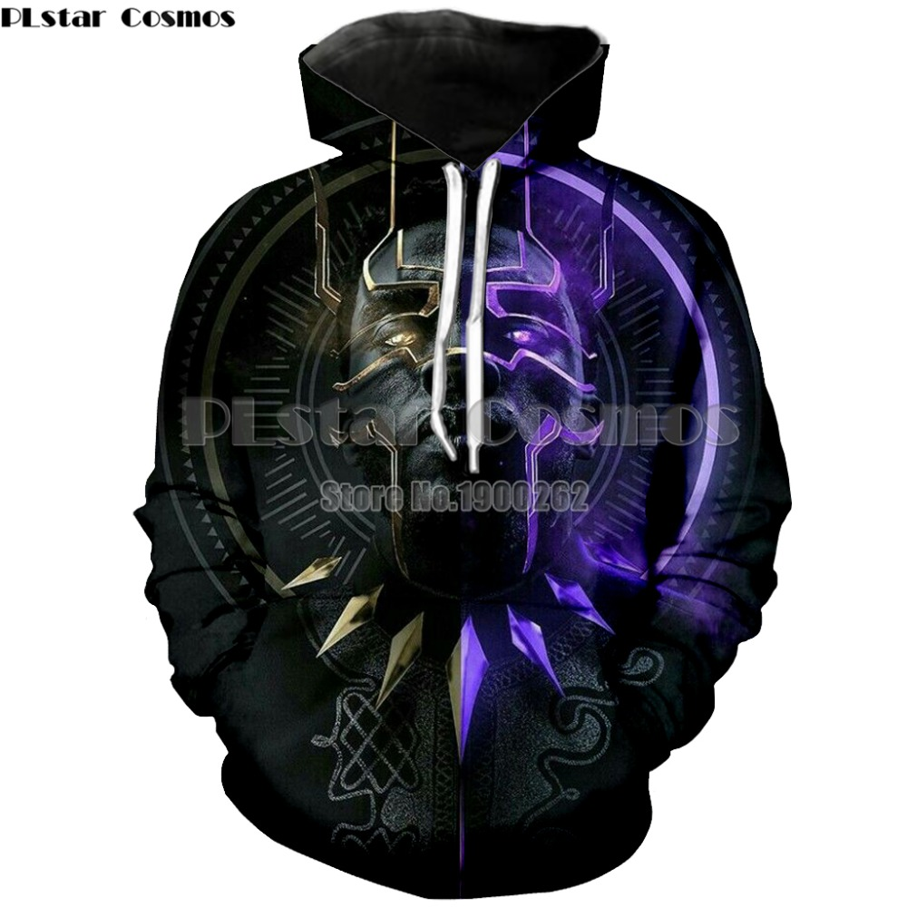 PLstar Cosmos Fashion Men Women Marvel Hoodie Black Panther 3d Print Hoodie Hip Hop Men Cospaly Hooded Sweatshirt Men Plus Size