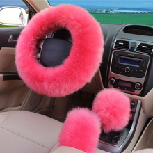 3pcs/set Pink Wool plush car steering wheel cover sets spring fur leather handle sleeves #TH0135