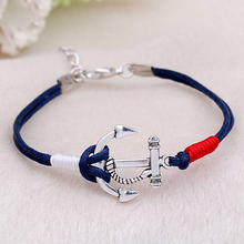 Women's Fashion Summer Jewelry Silver Anchor Multilayer Rope Braided Bracelet In Stock Fast Shipping