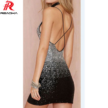 Reaqka 2017 Sexy sleeveless halter split sequin dress backless metal Christmas off shoulder party dresses club wear wholesale