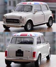 Candice guo alloy car scale model Welly white MINI Cooper 1300 Union Jack style Bean plastic motor collection birthday gift toy