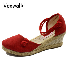 Solid Color Close Toe Women Casual Linen Canvas Wedge Sandals Summer Fashion Ankle Strap Med Heel Ladies Platform Pump Shoes(China)