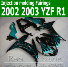 100% Injection molding body kits for YAMAHA  fairing kit 2002 2003 green flames in black  fairings set YZF R1 02 03 JK74