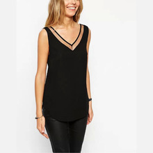 Women/Girls' Clothing New summer cool Sexy thin Mesh Voile Splice Chiffon V-neck Tank Tops for lady (China)
