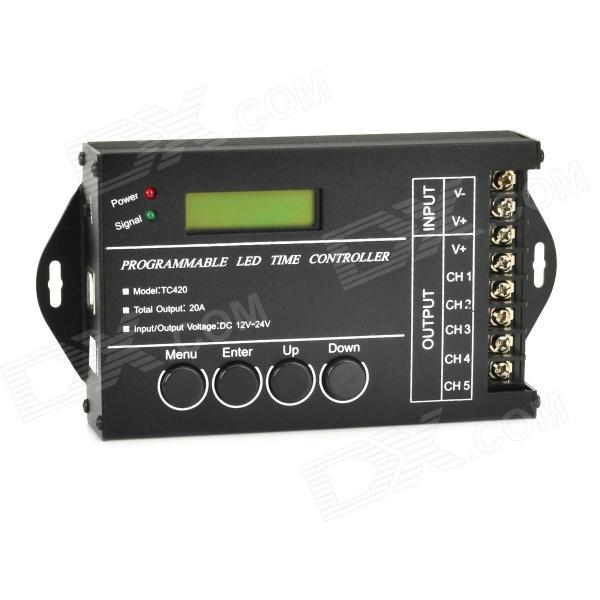 1.5 LED Programmable Time Controller - Black (12~24V / 130cm-Cable) for RGB Strip Module Free Shipping<br>