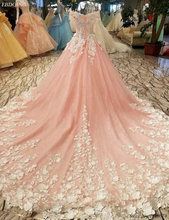 Buy Real Photo Vestidos De Novia Ball Gown Wedding Dress 2018 Boat Neck Short Sleeves Chapel Train Plus Size Flowers Beaded for $320.00 in AliExpress store