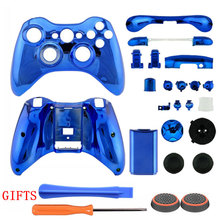 Blue ABS Plating Chrome Top Bottom Shell Case Cover Button Kit +GIFTS for Xbox 360 Wireless Controller Repair Parts
