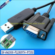 prolific pl2303ta usb rs232 to db9 cross wired rollover null modem cable(China)