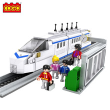 COGO 558PCS Block City Train Vehicle 3D Building Brick Blocks Assemble Educational Toys For Children Birthday Gifts Sets(China)