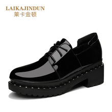 LAIKAJINDUN Fashion Women British Retro Style Shoes Girls Thick Sole Platform Shoes Nude shoes Ladies Heel Ankle Strap Pumps(China)