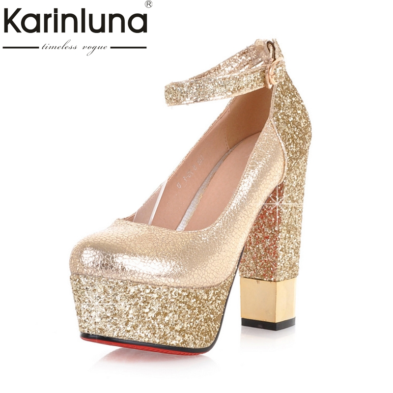 KarinLuna 2018 Top Quality Bling Upper Pumps Shoes Women Princess Style High Heels Sexy Party Wedding Bride Shoes Woman<br>