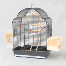 European Dome Big Large Bird Cages Houses Black White Metal Iron Parakeet Cockatiel Parrot Cage Birds Aviary Pet Carrier A26(China)