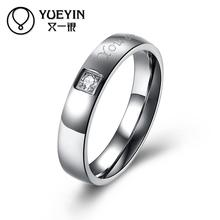 Engagement rings for men Titanium steel ring punk style couple zircon bague femme Wholesale Retail ornaments