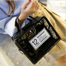 2017 Heat Lunch Bag Cooler Insulation Lunch Bag Ladies' Lunch Box Hand-held Patent Leather PU Picnic Pack Insulation Ice Pack(China)