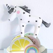 INS Baby Unicorn Stuffed Toys Cute Licorne Pillow Animal Shaped Doll Decorative Bedding Pillows for Kids Room Christmas Gifts(China)